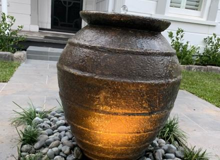 A simple water feature at a house landscaped in Brighton, Melbourne.